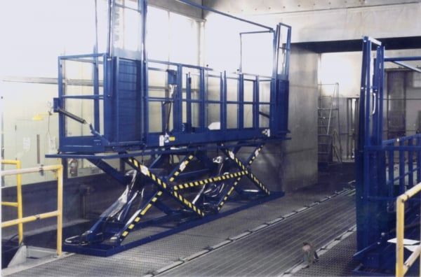 Scissors Lift with Retractable Tip-Down Platforms
